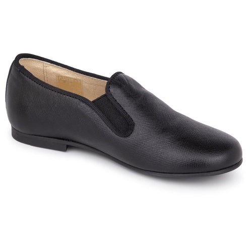 Andanines Black Leather Smoking Slip On 182447
