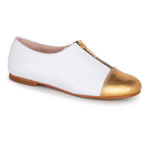 Geppettos White Leather Gold Tip Zipper Slip On Loafer 137032