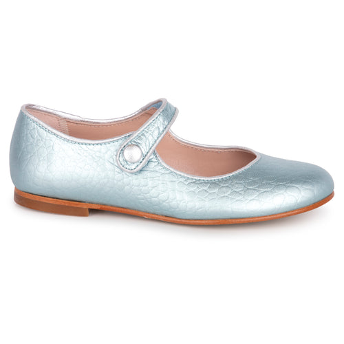 Geppetos Arctic Blue Metallic Silver Piping Mary Jane 137030