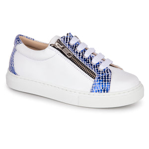 Geppettos White Leather Blue Metallic Double Zipper Sneaker 137063
