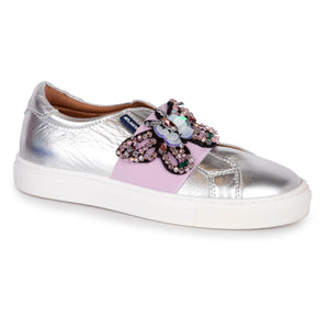 Atlanta Mocassin Silver Leather Slip On Sneaker b021