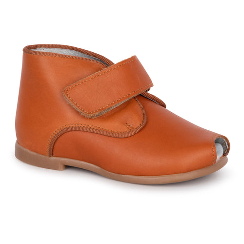 Geppettos Cognac Velcro High Top Open Toe First Walker 61102
