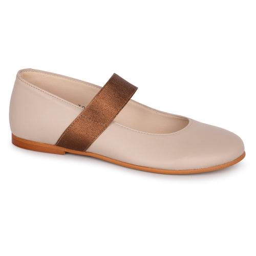 Sonatina Brooklyn Ivory Bronze Slip on Elastic Mary Jane