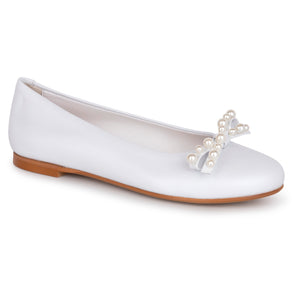 Oca Loca White Leather Pearl Ballet Flat Slip On 8043