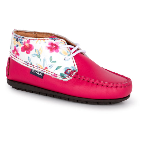 Atlanta Mocassin Pink Floral Laced Up First Walkers 14208