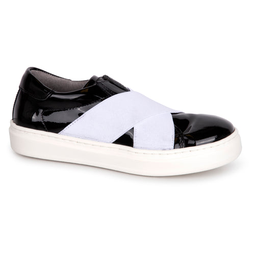 Blublonc Black Patent Slip On Sneaker 22S
