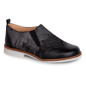 TNY Black Silver Wingtip Slip On 15420