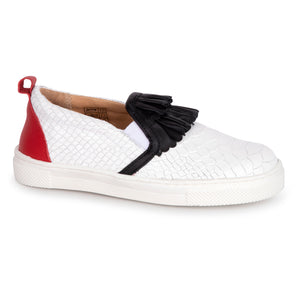 TNY White Crocodile Black Ruffle Red Leather Slip On Sneaker  15428