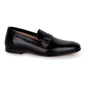 Hoo Black Leather Buckle Loafer 2182