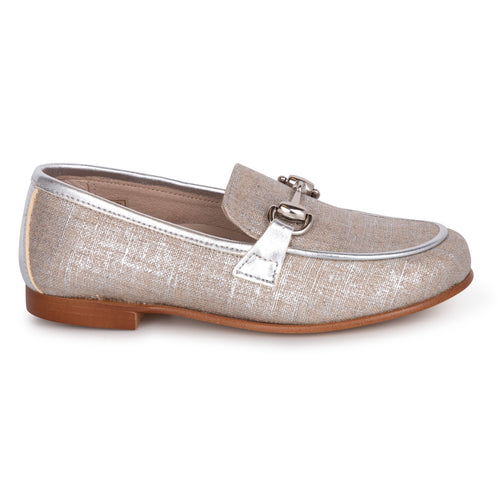 Hoo Silver Linen Chain Loafer 1988