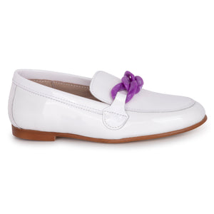 Hoo White Patent Purple Chain Loafer