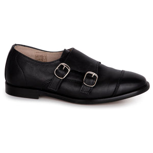 Hoo Black Velcro Monk Strap Dress Shoe 2278/2278Y