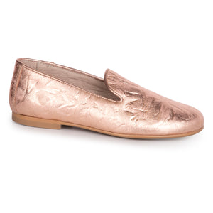 Hoo Rose Gold Crinkle Slip On Loafer 2300