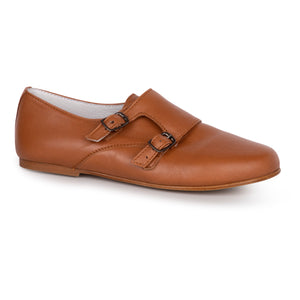 LMDI Tan Double Buckle Monk Strap Oxford N1367
