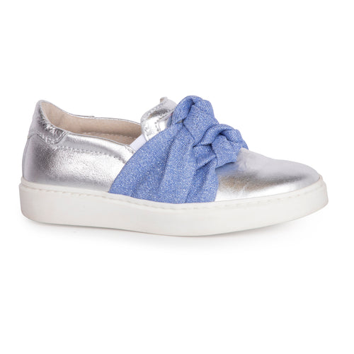 Shoe B 76 Silver Denim Blue Knot Slip on Sneaker 1203