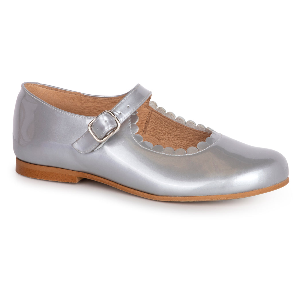 TNY Grey Metallic Patent Leather Mary Jane