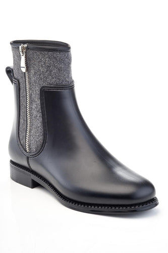 Henry Ferrera Black Grey Wool Marsala 888 Zipper Detail Short Rain Boot
