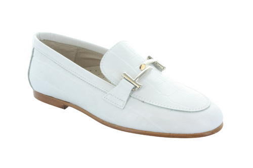 Hoo White Crocodile Chain Loafer 1990