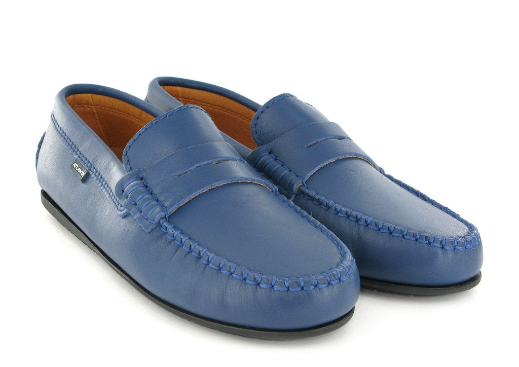Atlanta Mocassin Leather Loafer in Ocean Blue An44/ WV05