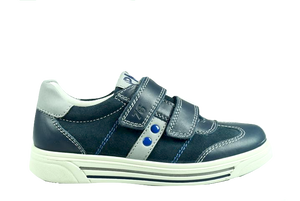 Primigi Navy with Grey Stripe Suede Velcro Sneaker 3383111