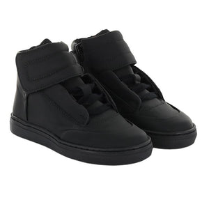 Maa Black Leather Lace Up Side Zipper Sneaker C248