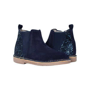 ChildrenChic Navy Suede Sparkle Side Zip Bootie