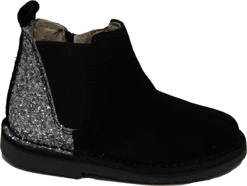 ChildrenChic Black Suede Sparkle Side Zip Bootie