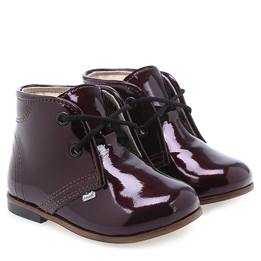 Emel Burgundy Patent Lace Up Bootie 219573