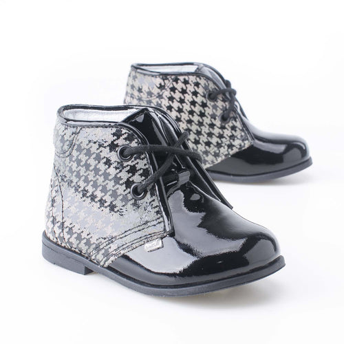 Emel Black White Patent Houndstooth Lace Up Bootie 6219