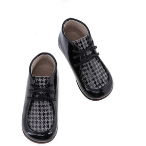Emel Black Patent Grey Houndstooth Lace Up 23745