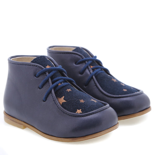 Emel Navy Gold Star Print Lace Up Bootie 4A27
