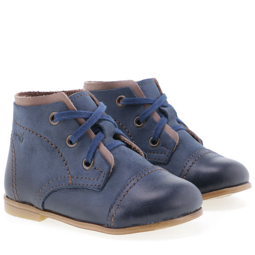 Emel Navy Suede Brown Trim Lace Up Bootie 243818