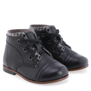 Emel Black Leather Grey Houndstooth Lace Up Bootie 3839
