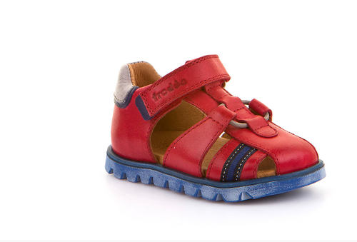 Froddo First Walker Toddler Red  and Blue Closed Toe Sandal G2150099