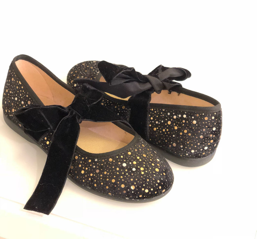 ChildrenChic Ballerina Black Gold Shoe