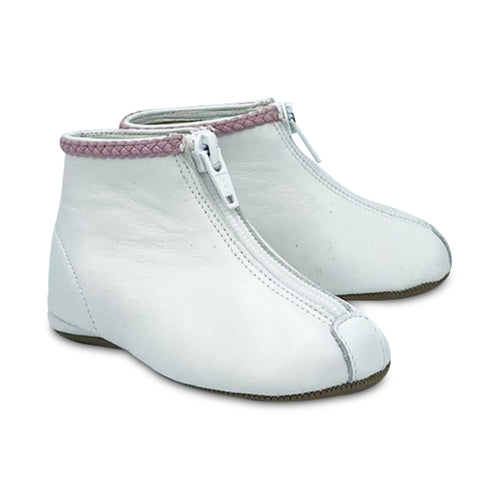 Pepe' ES X LS White Leather Pink Ribbon Trim Front Zipper Bootie 225-21