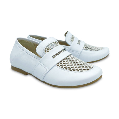 Manuela De Juan Manon White Leather Slip On Penny Loafer S2976