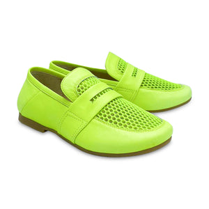 Manuela De Juan Manon Neon Yellow Slip On Penny Loafer S2976