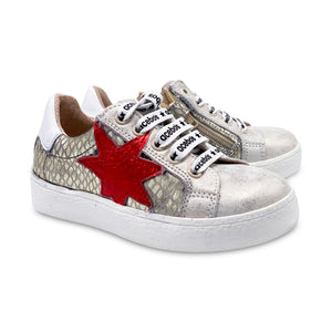Acebos Gold Leather Red Star Lace Up Sneaker 5461