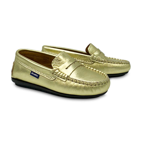 Atlanta Moccasin Gold Metallic Penny Loafer 18381