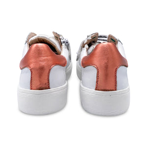 Acebos Teal Star White Leather Salmon Back Strip Sneaker 5461