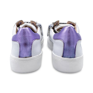 Acebos Gold Star White Leather Lilac Strip Lace up Sneaker 5461
