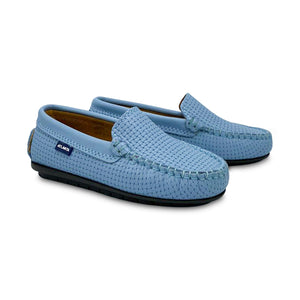 Atlanta Moccasin Sky Blue Basket Weave Loafer 18525