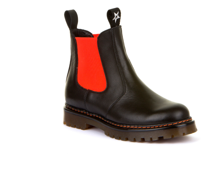 Froddo Black Leather Orange Slip On Bootie G3160134
