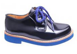 Papanatas Black Patent Laced Oxford with Royal Blue Sole  7857P