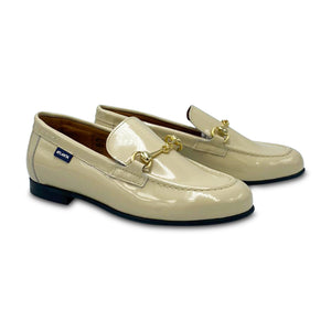 Atlanta Mocassin Nude Patent Buckle Loafer 19015