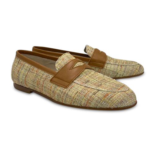 HOO Cognac Plaid Shimmer Penny Loafer
