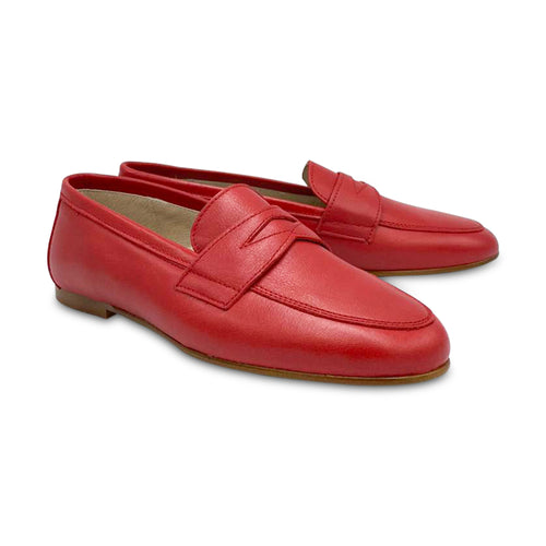 HOO Red Leather Penny Loafer