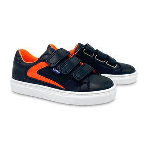 Atlanta Mocassin Black and Orange Velcro Sneaker 18639