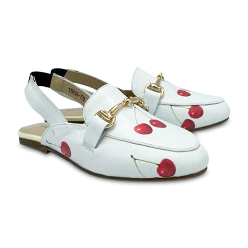 Gufanpei White Leather Cherry Print Slingback